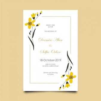花とモダンな結婚式の招待状