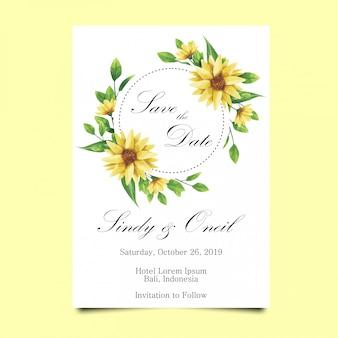 結婚式招待状の葉と花のスタイルの水彩画