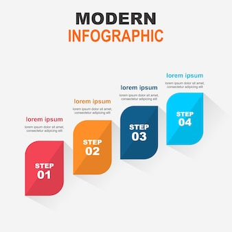 現代のインフォグラフィック・ステップ