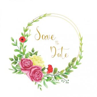 水彩風の花と結婚式の招待状フレーム
