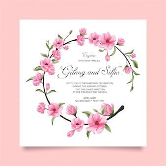 結婚式の招待カード花と葉の水彩風