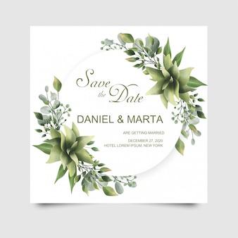 緑の葉の水彩風の結婚式の招待状