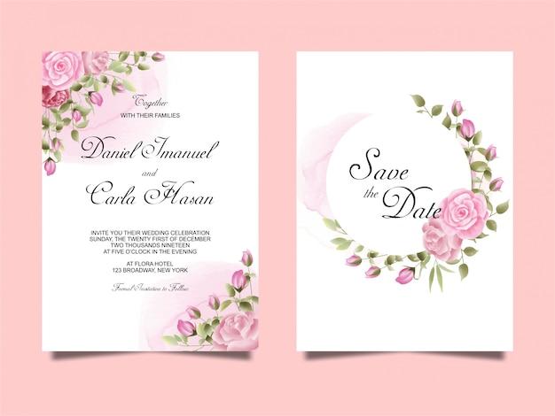 水彩風のバラの結婚式の招待状