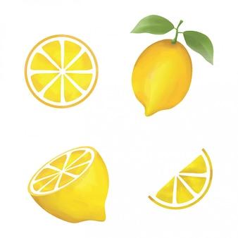 水彩風レモン