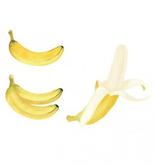 Желтый банан с акварелью