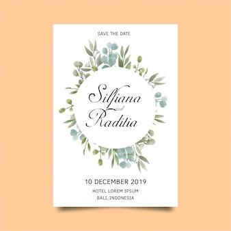 水彩風の葉と結婚式の招待カードのテンプレート