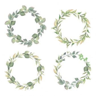 結婚式の招待状フレームの葉水彩風