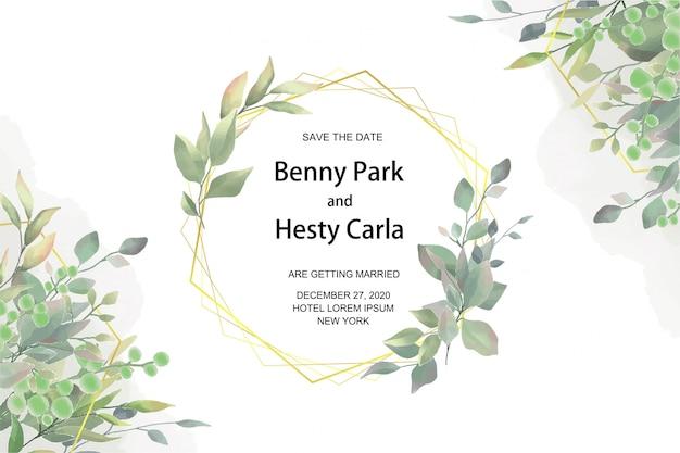 水彩風の葉と結婚式の招待状のテンプレート