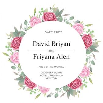 花の水彩画で結婚式招待状丸みを帯びたカードテンプレート