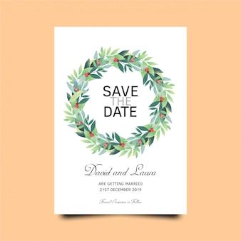 緑の葉のテンプレートと結婚式の招待カードのテンプレート