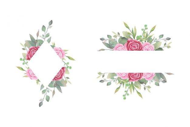水彩バラ結婚式招待状フレーム