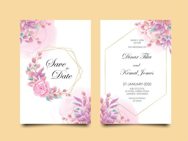 ピンクの花と水彩風の葉を持つ結婚式の招待カードテンプレート