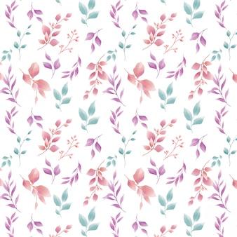 水彩葉パターン
