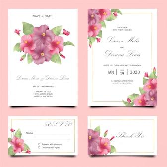水彩でハイビスカスと結婚式の招待カードのテンプレート
