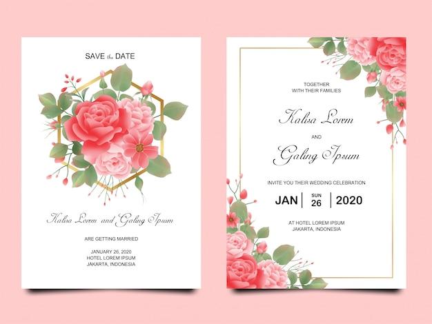 水彩で牡丹と結婚式の招待カードのテンプレート