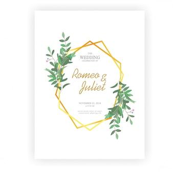 Рамки для свадебных приглашений, золотые рамки и листья