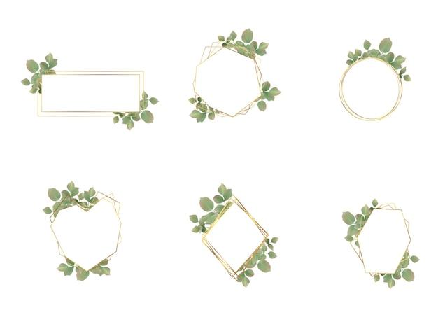 Коллекция логотипов свадебная рамка акварель