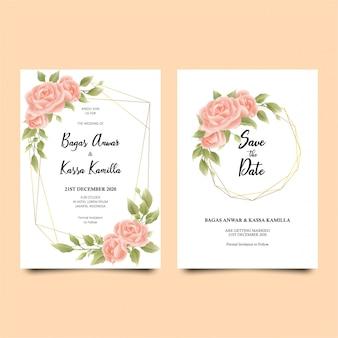 Элегантный ботанический шаблон свадебного приглашения с мягкими акварельными цветами