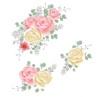 水彩のバラの花輪の要素