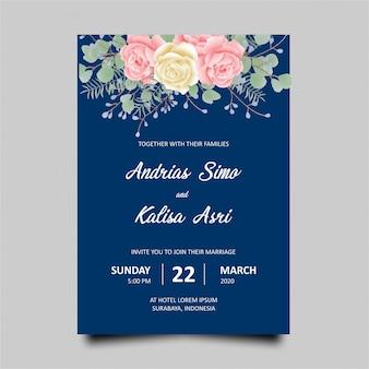 バラ水彩ネイビーブルーの結婚式の招待状のテンプレート