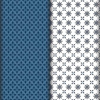 ネイビーブルーと白のエスニックパターン