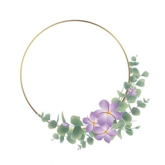 Золотая рамка круг с акварелью эвкалипта листьев украшения