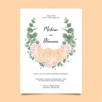 バラの花とユーカリスタイルの水彩画の結婚式招待状カードのテンプレート