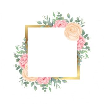 結婚式の招待カードテンプレートの水彩花と葉の装飾とゴールドフレーム