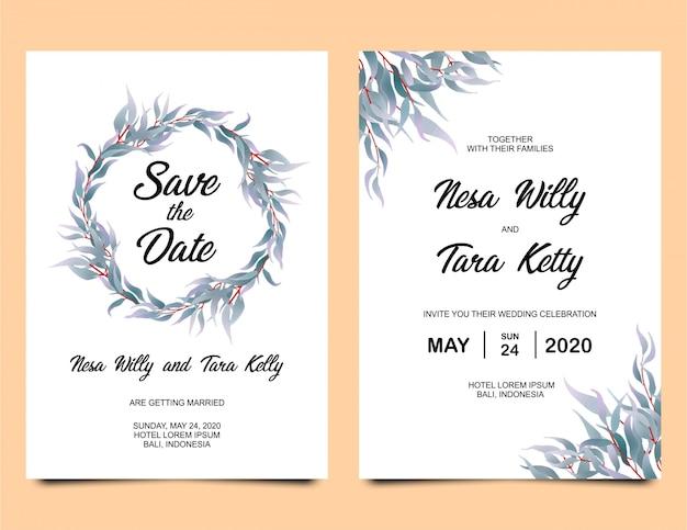 水彩葉の装飾が施された結婚式の招待状のテンプレート