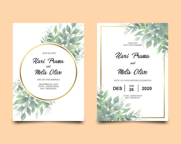 水彩と葉のフレームを持つ結婚式の招待カードテンプレート