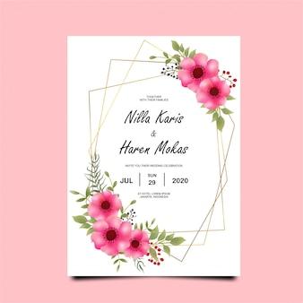 Шаблон свадебного приглашения с цветами и листьями красивого акварельного стиля