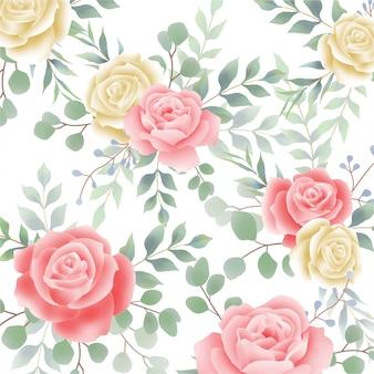 美しい水彩画のバラの花のパターン