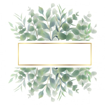 水彩葉フレーム