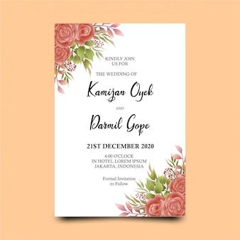 水彩のバラの装飾と結婚式の招待状