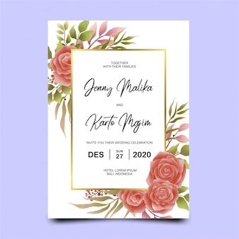 美しい赤いバラロマンチックな花の結婚式の招待状