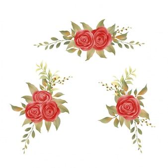 赤いバラの花束と水彩画の葉