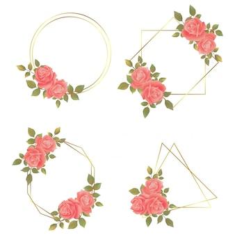 Свадебная акварельная цветочная рамка