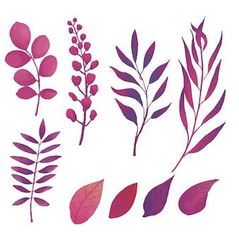 Фиолетовый лист акварелью