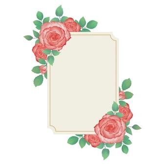 Свадебная цветочная акварельная рамка