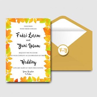 秋の葉のテーマの結婚式招待状のテンプレート