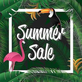 緑の花の夏の販売の背景のデザイン