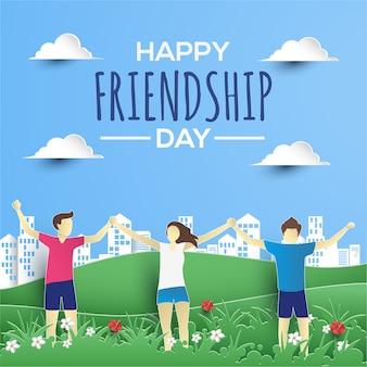 Счастливая дружба день плоская бумага стиль поздравительная открытка