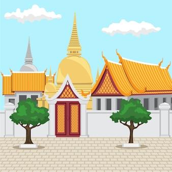 タイのバンコクの寺院タイの古代建築は金色の寺院で構成されています。