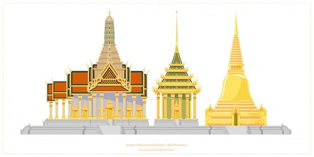 タイの伝統的な建築。エメラルド寺院またはワットプラケオ。