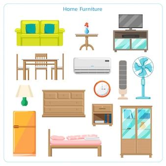 フラットスタイルの家の家具のデザイン要素のセット。内部のアパート。ソファとテレビ付きの居心地の良いインテリア。
