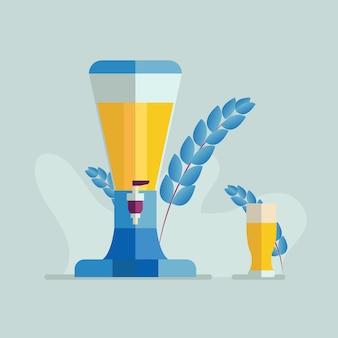 ビールのグラスとビールディスペンサー