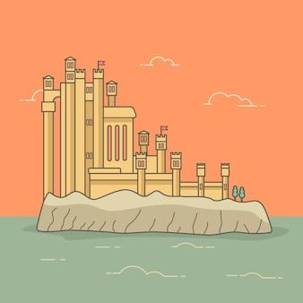 水に囲まれた島のヴィンテージ宮殿