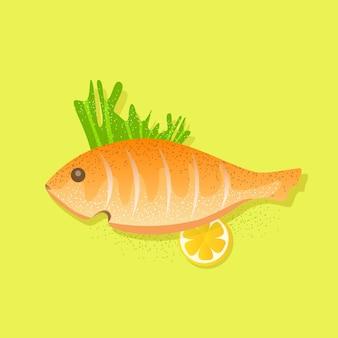 緑に分離された飾りと魚のグリル