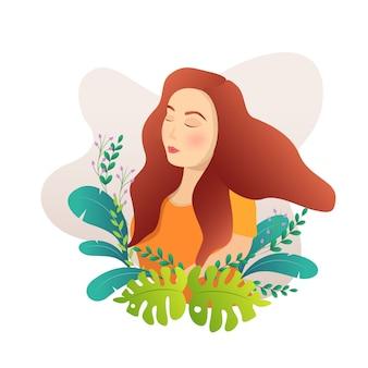Красивая девушка, наслаждаясь бризом в саду