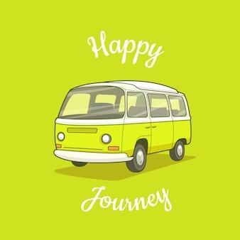 緑に分離された緑と白のバンと幸せな旅のポスター